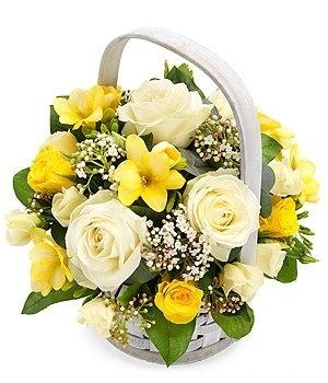 Shining Light Yellow And White Basket The Flower Garden